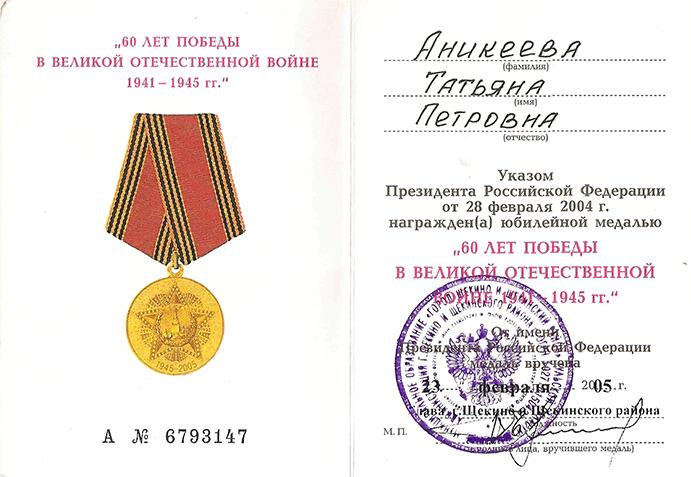 Аникеева Татьяна Петровна